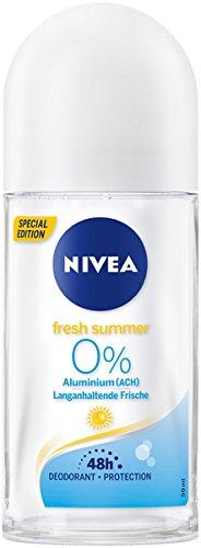 NIVEA Fresh Summer Deo Roll On im 6er Pack (6x 50 ml), Deo Roller ohne Aluminium mit sommerlich leichtem Duft, Deodorant mit 48h Schutz pflegt die Haut