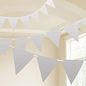 Amscan International- Cinta decorativa, Color 10m plastic pennant banner - silver (9903792)