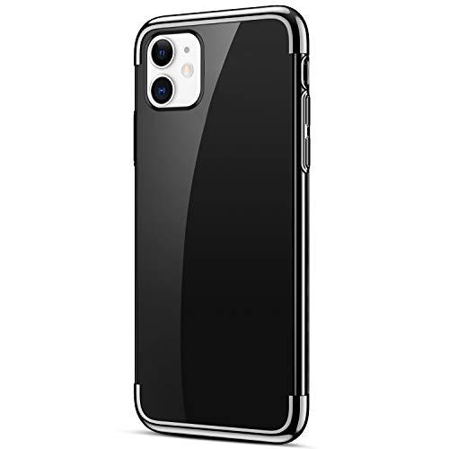 Uposao Kompatibel mit iPhone 11 Schutzhülle Transparent Weiche Silikon Handyhülle Überzug Farbig Rahmen Silikon Hülle Liquid Crystal Clear Durchsichtige TPU Bumper Case,Schwarz