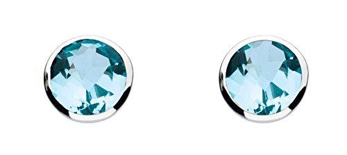 Dew - Orecchini a perno ovali in argento Sterling e perline turchesi, Argento, colore: Topazio azzurro, cod. 3039BT