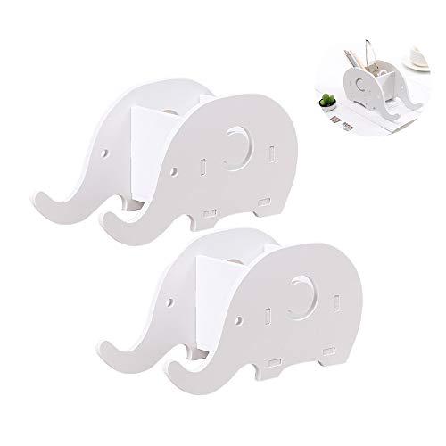 2 Piezas Forma de Elefante Soporte de Teléfono Celular,Porta Lápiz de Elefante,Soporte Para Lápices de Escritorio,Organizador de Escritorio,Adecuado Para Oficinas, Adultos, Niños (Blanco)