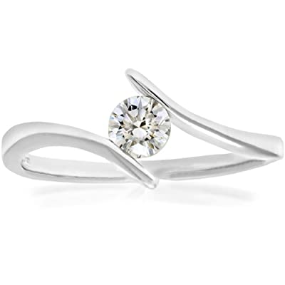 Naava 18ct White Gold Crossover Solitaire Engagement Ring, F/SI1 EGL Certified Diamond, Round Brilliant, 0.28ct