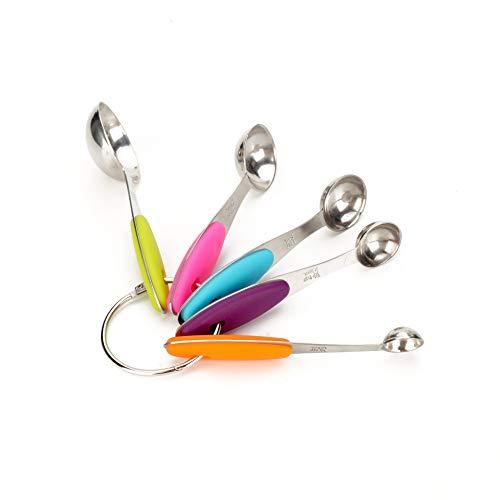 Ayanx Cucchiaio da cucina in Acciaio inossidabile misura 5 pezzi Set bilancia Manico in Silicone Bilance da cucina Mini utensili per frenare Misurare Cucinare Rosso Blu