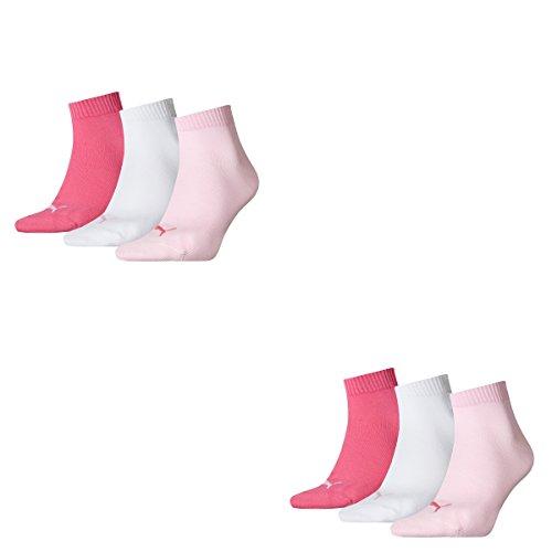 6 Paar Puma Unisex Quarter Socken Sneaker Gr. 35 - 49 für Damen Herren Füßlinge, Farbe:422 - pink lady, Socken & Strümpfe:35-38