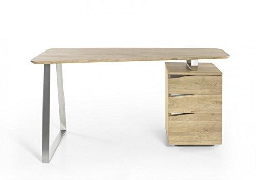 Dreams4Home Schreibtisch 'Rito' – Tisch, Bürotisch, Arbeitstisch, B/H/T: 150 x 75 x 67 cm, bis max. 30 kg, Gestell: Edelstahl gebürstet, Korpus: teilmassiv, 3 Schubkästen,