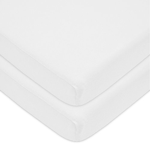 American Baby Company 100% Cotton Value Jersey Knit Fitted Portable/Mini Crib Sheet, White, 2 Count by American Baby Company