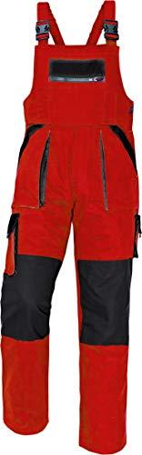 Stenso Max Salopette da Lavoro Extra Resistente Uomo Stile Cargo Rosso/Nero 52