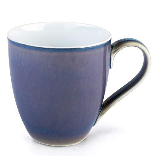 Hausmann & Söhne XXL Tasse blau groß aus Porzellan | Jumbotasse 500 ml (550 ml randvoll) | Kaffeetasse/Teetasse groß | Kaffeebecher | Blaue Tasse 500 ml | Geschenkidee