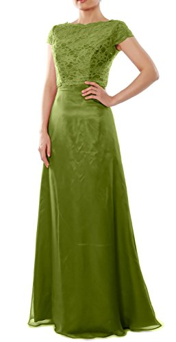 MACloth Elegant Cap Sleeve Long Bridesmaid Dress Wedding Party Gown with Jacket Olive Green