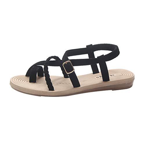 Louyihon-RöMer-Sandalen Mit Flachem Boden FüR Sommerfrauen Wild Cross Straps Clip Toe Beach Shoes Sandals Saltwater Sandals Salt Water Damen Platform Fantasy(Beige,Schwarz) (Schwarz, 40)