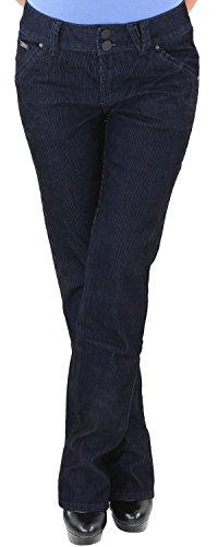 Damen Cordhose Hüft Stretch Hose Gerader Schnitt Straight Leg Gerades Bein Übergröße Blau Schwarz M/38 XRL8013-B