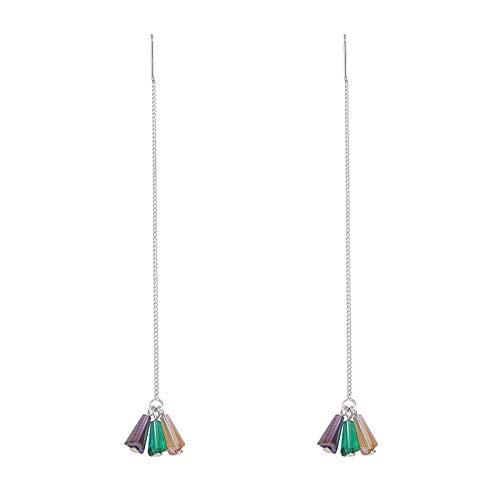 gyx Ohrringe Silber Künstlicher Kristall Langes Temperament Fringe Ohr Draht Kettenlänge 7cm Anhänger Länge 0,8cm (Fringe Ohr)