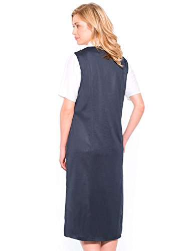 Charmance - Robe jumper unie, boutonnée ju Marine