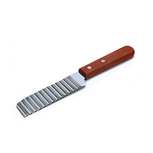 Anqeeso Rascador de masa de acero inoxidable, cortador de verduras, cortador de ensalada, cortador de ondas, cortador de fruta con mango de madera