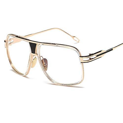 JFFFFWI Ofgcfbvxd-gla Mode Unisex Fahren Sonnenbrille Mode Vintage Metall Big Box Sonnenbrille Männer und Frauen Sonnenbrille Für Männer und Frauen Ultraleicht (Farbe: Flugzeug Spiegel 2, Größe: Fre