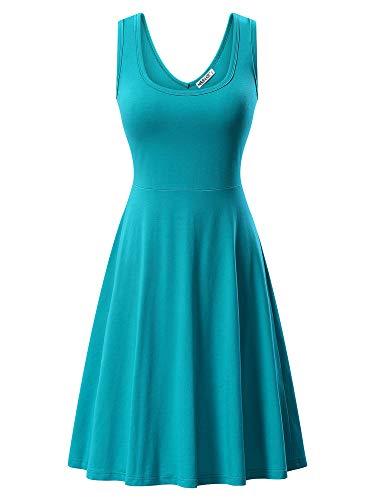 MSBASIC Ärmelloses, ärmelloses Kleid mit Rundhalsausschnitt für den Sommer 18023-16 X-Large (Kleider Damen Türkis)