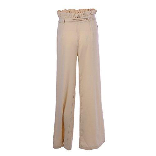 Vertvie Femme Pantalon Palazzo Taille Haute Évasé Pantalon Amincissant Jambe Large Avec Ceinture Abricot