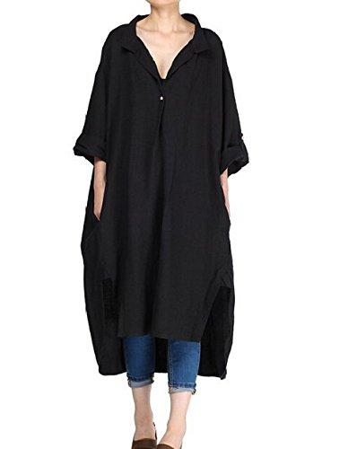 Vogstyle Damen Plus Größe Baumwollleinen Einschultriges Shirt Kleider Large (Arbeiten Kostüm Ein Trägt Zu)