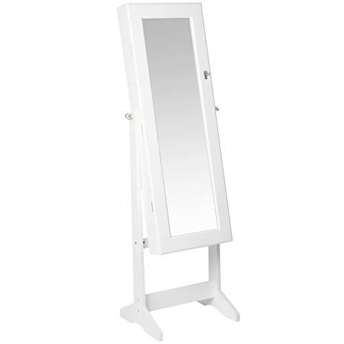 Armario para joyas con espejo de pie, con iluminación LED, se puede cerrar, orientable, color blanco...