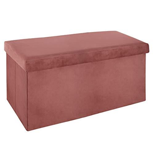 ATMOSPHERA – Sitzhocker, zusammenklappbar, doppelt, aus Velours, 76,6 x 38 cm, Rosa, Rose Moyen,...