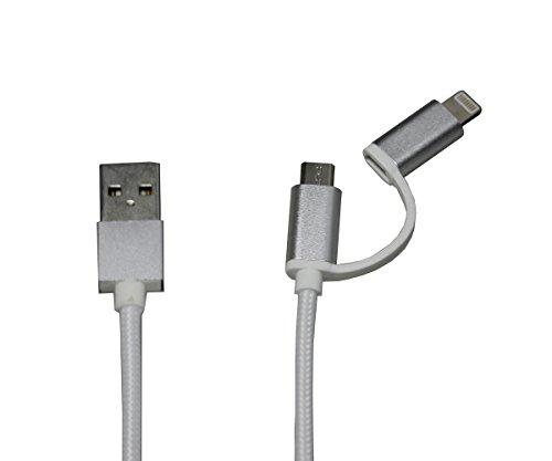 2in 1Lightning e cavo micro USB in nylon intrecciato di sincronizzazione dati di trasmissione e cavo di ricarica per iPhone 7/7Plus/6s/6Plus/6/5s/5C/5, iPad/iPod, Samsung, HTC, LG, Motorola, Nexus, Nokia, Sony, e altri telefoni Android
