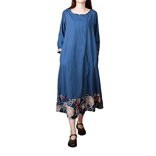 CAOQAO Damen Kaftan Baumwolle Lange Ärmel Einfaches Freizeit Übergroße Maxi Langes Hemdkleid