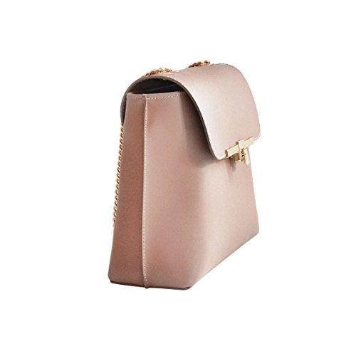 SOFIA Handtasche mit blassen Goldkette, Glattleder, Hergestellt in Italien cornflowerblau