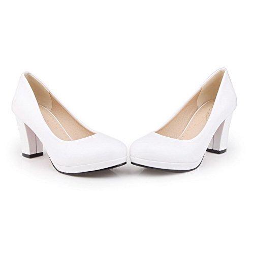 VogueZone009 Damen Rein Weiches Material Hoher Absatz Ziehen Auf Rund Zehe Pumps Schuhe Weiß