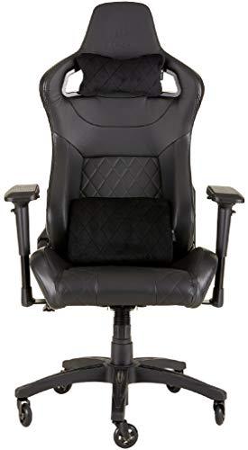 Corsair T1 Race  (Kunstleder Gaming Rennsport Büro Stuhl, EinfacheMontage,Ergonomischschwenkbar,verstellbareSitzhöhe & 4D Armlehnen,Komfortablebreite Sitzfläche mit hoher Rückenlehne) schwarz