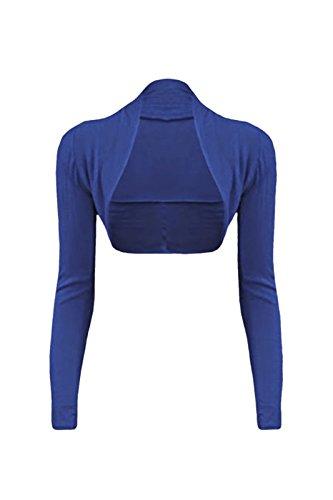 Couture Cexi - donna Bolero cardigan a maniche lunghe taglie 36 38 40 42 pianura Blu reale