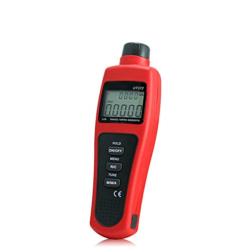 Multímetro UT371 UT372 Tacómetro Láser Digital Sin Contacto Retención De Datos Modo Odómetro/MAX/MIN/AVG; Rango De RPM 10~99999RPM Interfaz USB XXYHYQHJD (Color : Rojo, Size : UT372)