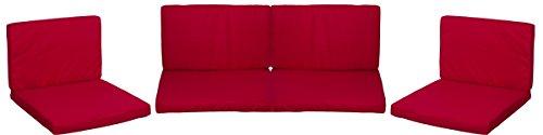 Gartenstuhl-Kissen Lounge Premium Sitzkissen Kissenset für Monaco Rattan Gartengruppen rot 8 Kissen 100% Polyester wasserabweisend mit Reissverschlüssen Bezug abnehmbar