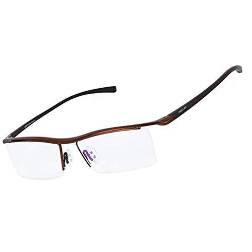 Der Geschmack von zu Hause Mens Pure Titanium Halbrandlose Brillen Business Optische Brillengestell Klare Linse (Color : B)