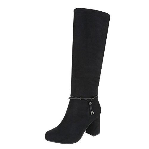 Ital-Design Klassische Stiefel Damen-Schuhe Klassische Stiefel Pump High Heels Reißverschluss Stiefel Schwarz, Gr 40, 9739-