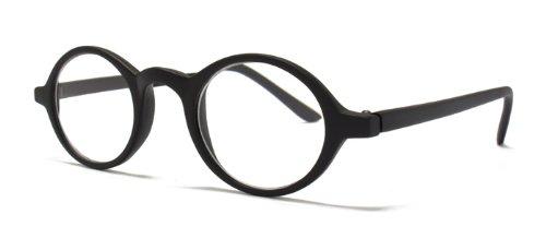 Schicke Lesebrille mit modischen runden Gläsern matt schwarz +1