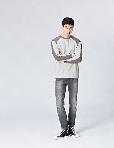 FIND Sweatshirt Herren aus Baumwoll-Jersey, mit Streifen Grau (Grey)