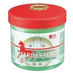 Pferdesalbe mit angenehmem Geruch kühlt, wärmt und pflegt; mit ätherischen Ölen, Arnica und Rosmarin; klebt nicht; Spar-Set 3x500ml