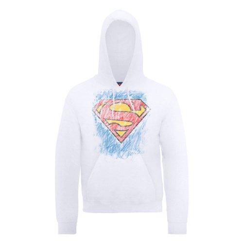 Capuche Comic Dc Logo À Shirt Crayon Dc0000306 Homme Sweat Blanc Official Superman 7wadzfwq