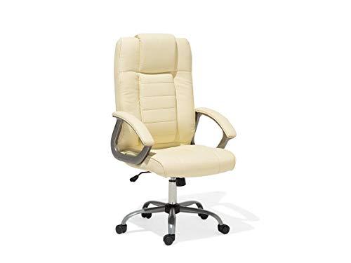 "Leder Chefsessel Massagesessel\""Comfort\"" Bürosessel mit Massage Sessel Farbe creme weiß/beige für Büro Ledersessel Bürostuhl Drehstuhl"