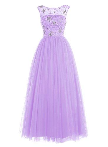 Bbonlinedress Damen Bodenlang Tüll Abendkleider Rücken-V-Ausschnitt Promi-Kleider Lavender