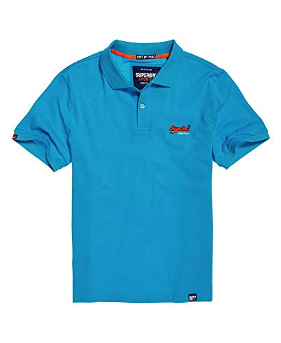 Superdry Polo Herren Mercerised LITE City Polo Turquoise, Größe:L - Washed Pique Polo Shirt