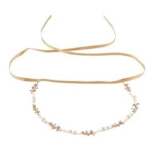 Roségold Hochzeits Haarband Stirnband Tiara Diadem Kopfband Kopfkette Brautschmuck Kopfbedeckung