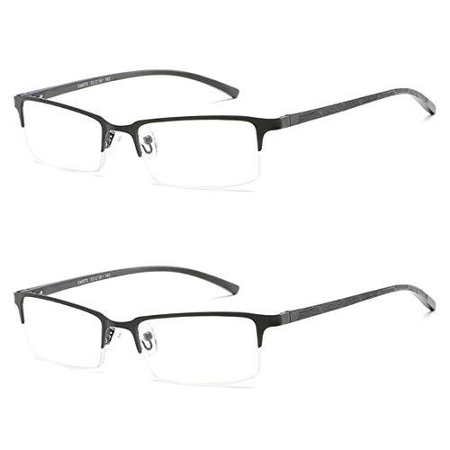 Yefree Halbgerade Brille Mode Metallrahmen 2 Stück Männer und Frauen Lesen Brille Metallfederscharnier elastische Beine Halterung klare Sicht (Schwarz Umrandeten Lesebrille)