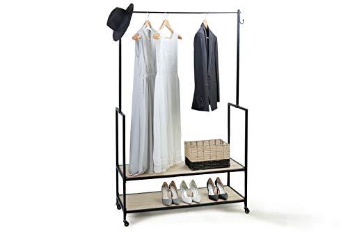 LIFA LIVING Kleiderständer auf Rollen Metall, Kleiderstange Holz (MDF) und Metall schwarz, Mit Ablagen, Rollen und Feststellbremse, als Gaderobenständer oder Kleiderstange im Schlafzimmer, 1.75 m