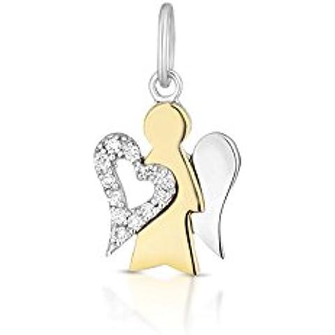Pendente angelo in oro giallo e ala a cuore in oro bianco ROBERTO GIANNOTTI PZ637