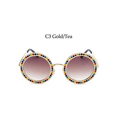 KCJKXC Metall Runde Sonnenbrille Mit Kristall Marke RetroRunde SonnenbrilleWeibliche Schwarze Strass Shades