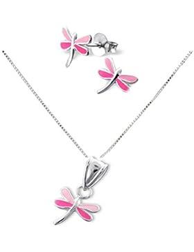 SL-Silver Set Kette Kinder Ohrringe Anhänger Libelle 925 Silber in Geschenkbox