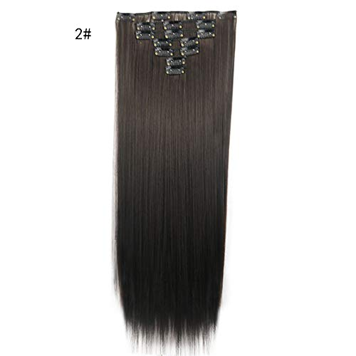(Rifuli® Perrücke 1 Stück 16 Clips In Haarverlängerungen Stück Lange Gerade Haar Chemiefaser Perücke 90er/80er jahre perücken)