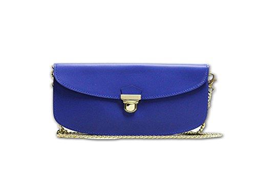 Pochette in pelle con doppia tasca Double Blu