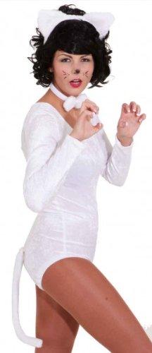 Ohren Schwanz Kostüm Katze Und Weiße - Katzen-Set weiß : Haarreif mit Ohren, Schleife, Schwanz